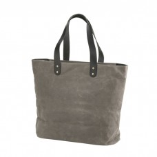 Waxed Canvas Shopper Tote with Leather Tag