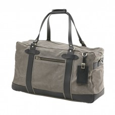 Waxed Canvas Weekender with Leather Tag