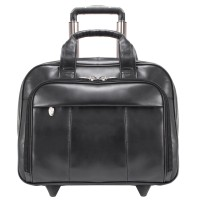 """Greenwich 15.6"""" Leather Wheeled Laptop Briefcase"""