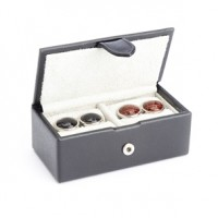 Suede Lined Travel Cufflink Storage Box in Saffiano Genuine Leather - Fits 2 Pairs