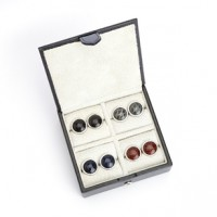 Suede Lined Travel Cufflink Storage Box in Saffiano Genuine Leather - Fits 4 Pairs