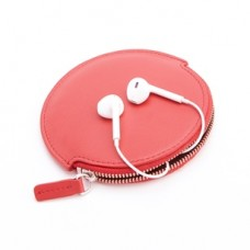 Leather Circular Earbud Travel Case