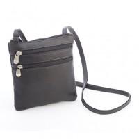 Colombian Leather Double Zip Crossbody Bag