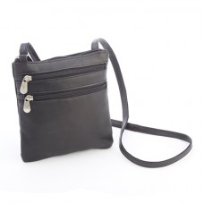 Colombian Leather Double Zip Crossbody Bag