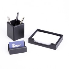 Desk Set: Pen Cup Organizer, Note Tray and Business Card Holder lined with Genuine Suede