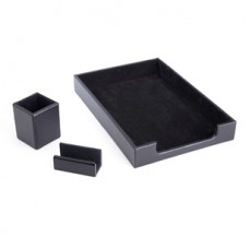 Desk Set: Pen Cup Organizer, Letter Tray and Business Card Holder lined with Genuine Suede