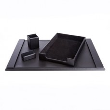 Desk Set: Pen Cup Organizer, Letter Tray, Blotter and Business Card Holder lined with Genuine Suede
