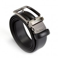 Made in USA Airport Security Friendly Genuine Leather Belt with Detachable Chrome Buckle