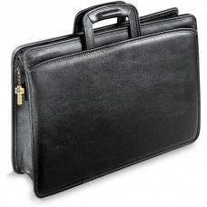 University Collection 2293 Single gusset top zip tri-pocket portfolio Briefcase