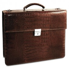Croco Collection Double Gusset Flapover Briefcase 2422 Burgundy