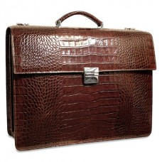 Croco Collection Triple Gusset Flapover Leather Briefcase 2423 Brown