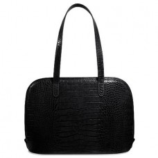 Croco Collection 2916 Large Three-Way Zip Business Tote Black