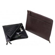 Buffalo Napa Leather Slim Underarm Portfolio with Dual Zipper Sliders