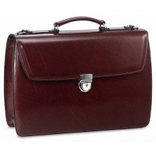 Elements Triple Gusset Flap Over Leather Briefcase
