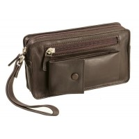 Harness Cowhide Leather Wrist Pouch & Compact Organizer