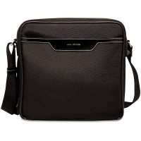 Generations Collection 6512 Retro Messenger Bag Black w/Cream stitching