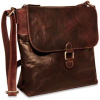 Voyager Collection Zip Top Hobo Bag w/Front Flap 7837 Brown