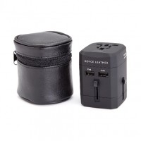 International Travel Adapter In Genuine Leather