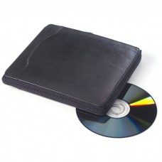 Leather CD Case or Holder - 20 CDs in Black Leather | Clava