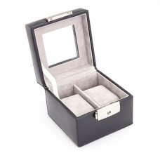 Luxury Two Slot Watch Box In Genuine Leather